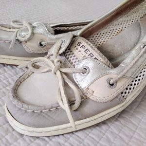 Sperry top sider womens 8 gold tan gray